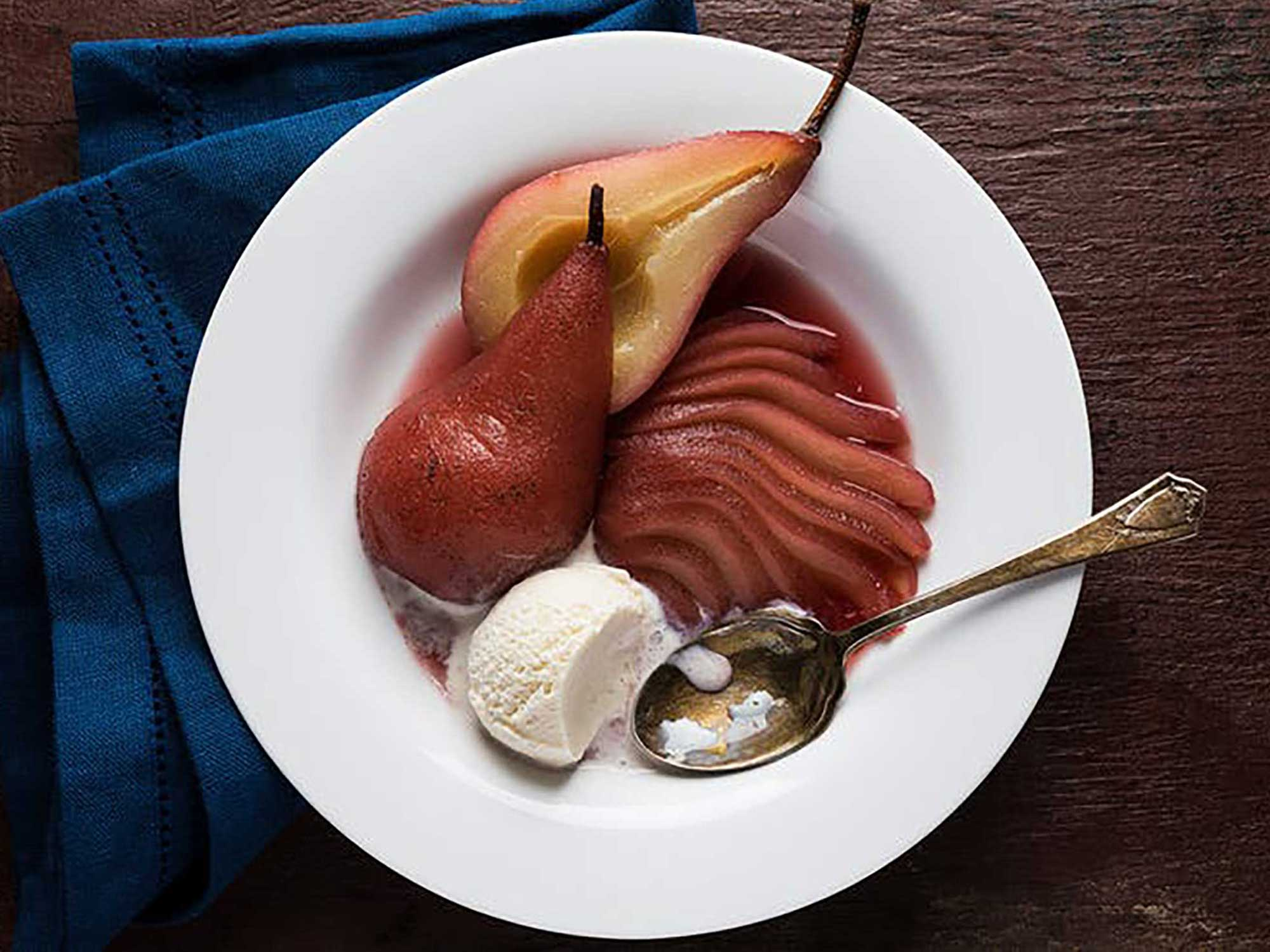 Sous Vide Red Wine Poached Pears