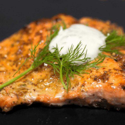 Sous Vide Salmon with Crispy Skin & Lemon Dill Sauce