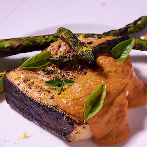 Sous Vide Swordfish with Romesco Sauce